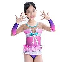 リズミカル体操レオタード、女の子女性クイックドライロングスリーブレオタールスパンデックス通気性手作り,ピンク,12Years
