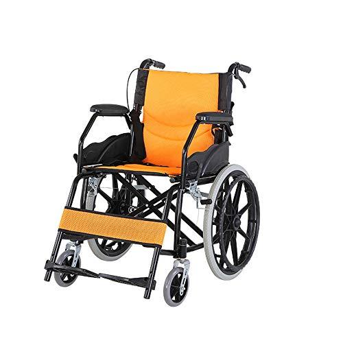 JINGQI Tragbare Carbon Steel Folding Rollstuhl Ältere Mobilität Rollstuhl Faltbare Haushalts Medical Folding Multifunktionale Rollstuhl,Gelb