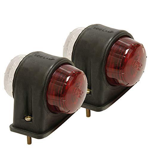 2 Stück Begrenzungsleuchte rot/weiß flach + Leuchtmittel 12V - 5 W