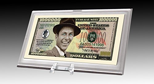 American Art Classics Frank Sinatra Limited Edition Million Dollar Collectible Bill in Desktop Currency Stand - Best Desk Top Accessory Gift - Old Blue Eyes