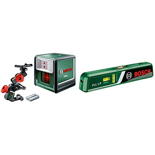 Bosch Kreuzlinienlaser Quigo (3. Generation, Reichweite: 10 m, in Box, Rot Laser ) & Laser-Wasserwaage PLL 1 P (Arbeitsbereich Linienlaser 5 m, Arbeitsbereich Punktlaser 20 m, im Karton)