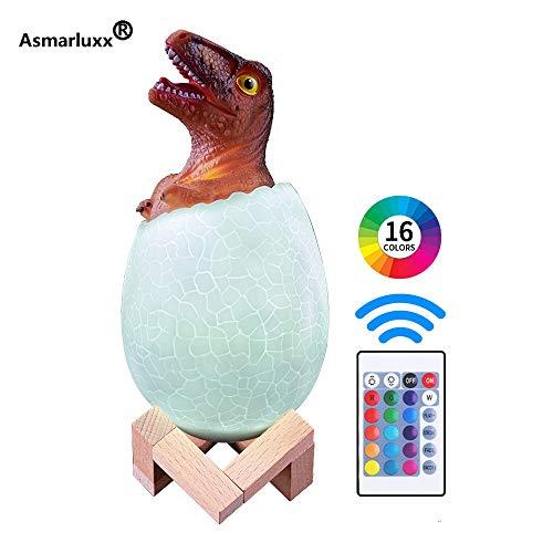Lampada da tavolo 3D a forma di uovo di dinosauro Giocattolo per bambini Regalo Luce notturna Controllo variabile 16 Colori Luce a LED a distanza Lampada da scrivania creativa per la casa intellig