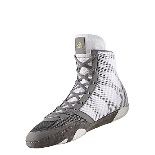 adidas Pretereo III Men\'s Wrestling Shoes, Grey/Gold/White, Size 6.5