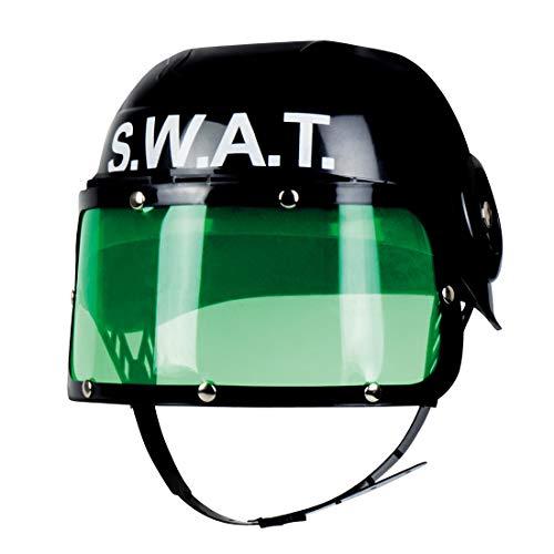 Aufregender Polizei Kinderhelm SEK / Schwarz-Grün / SWAT-Helm Spezialeinheit für Jungen / Perfekt angezogen zu Kinder-Fasching & Kostümfest