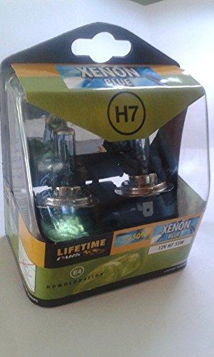 Lifetime cars 25662 Jeu d'Ampoules Xénon Bleu 12 V H7 55 W 2 Pièces