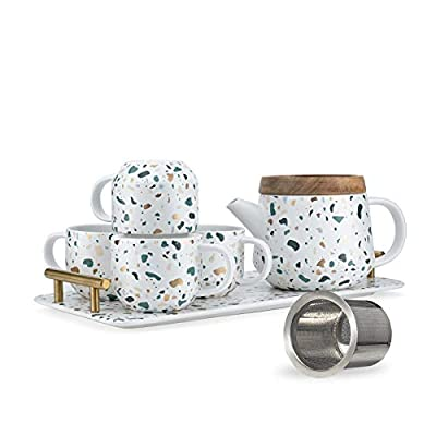 Taimei Teatime Tea Set, Teapot with Infuser 25 fl.oz, Tea Pot and Tea Cup Set for 4, Modern Tea Gift Sets and a Serving Tray with Handles,White