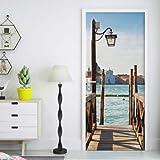 FLFK 3D Venecia el muelle del Gran Canal Adhesivo Vinilos Puerta Pegatina Pared Murales para Cocina Sala de Baño Decorativos 77X200cm