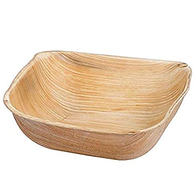 "Eco-Gecko 5"" SQUARE Palm Leaf bowl / 100 ct. case"