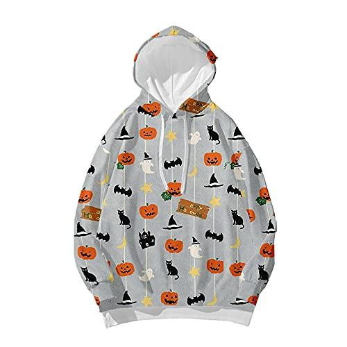 Sudadera con capucha de calabaza de Halloween para mujer con estampado de esqueleto, sudadera con capucha Y2k de manga larga, tops casuales, A9, L