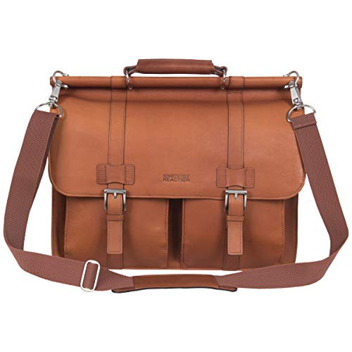 Kenneth Cole Reaction Colombian Leather Dual Compartment Flapover 15' Laptop Dowelrod Business Portfolio, Cognac