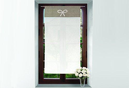 Soleil d'ocre Mini Visillo de algodón Bordado 45x90 cm Emilie Gris Topo