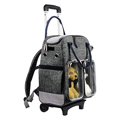 Mochila para Mascotas Carry Cart Maleta con Ruedas para Mascotas para Viajes de Mascotas Portátil al Salir Bolsa para Perros Transpirable Plegable,Gray