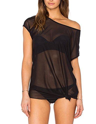 May&Maya Women's Sheer Mesh Asymmetry Hem Top (S, Black) Black Crinkle Tank Top