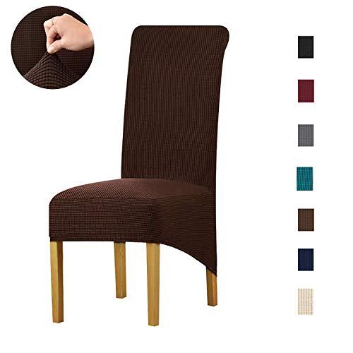 LANSHENG Stretch XL Stoelhoezen voor Eetstoelen 2/4/6 Stks Stoel Beschermende Slipcover, Elastische Stoelbeschermer Stoelhoezen voor Eetkamer Bruiloft Banket Feestdecoratie 6 pcs Koffie1