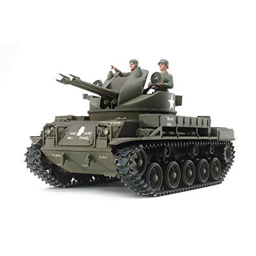 TAMIYA 300035161 1:35 US Flak-Panzer M42 Duster, originalgetreue Nachbildung, Modellbau, Plastik Bausatz, Basteln, Hobby, Kleben, Plastikbausatz, Zusammenbauen, unlackiert