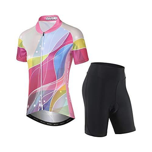 TZTED Maillot Ciclismo Mujer, Ciclismo Conjunto de Ropa Culote Pantalones Acolchado 3D...