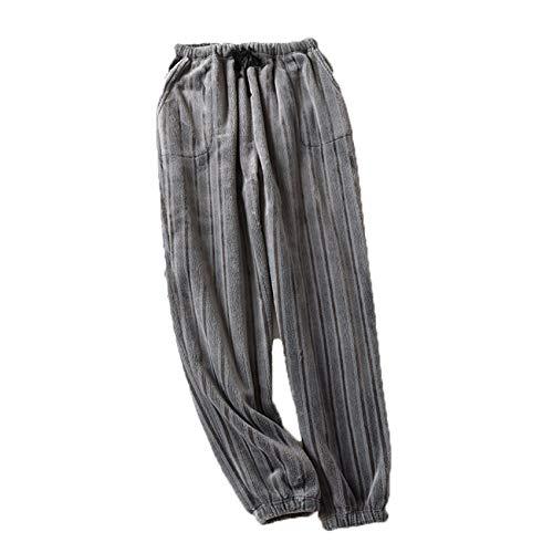 Franela Pareja Primavera Y OtoñO Pantalones De Pijama Pantalones De Casa OtoñO E Invierno Coral Fleece Hombres Y Mujeres Engrosamiento Calidez Y Cierre