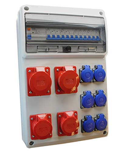 LS Stromzähler FI 4 x 230V Schuko CEE 16A Baustromverteiler CEE 32A