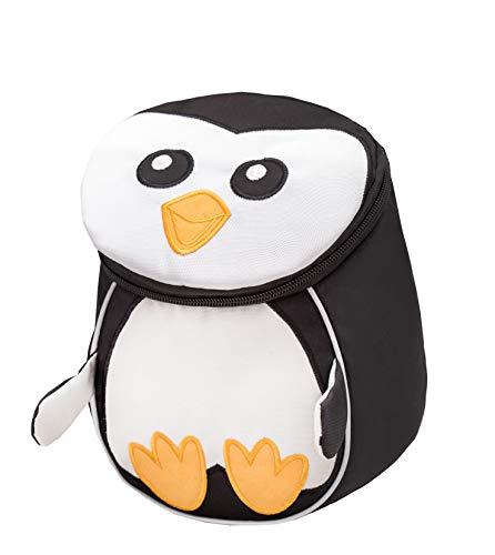 Belmil Kindergartenrucksack mit Brustgurt und Namensschild für 1-3 Jährige/Jungen - Mädchen / 4 L/Grün/in Tierform: Pinguin (305-15 Mini Penguin)