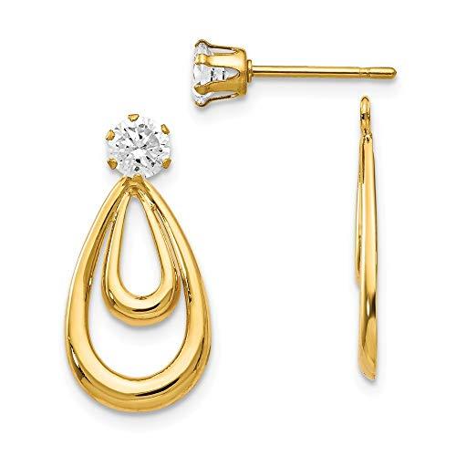 14ct geel goud Dangle open rug post oorbellen gepolijst met zirkonia Stud oorbellen jassen
