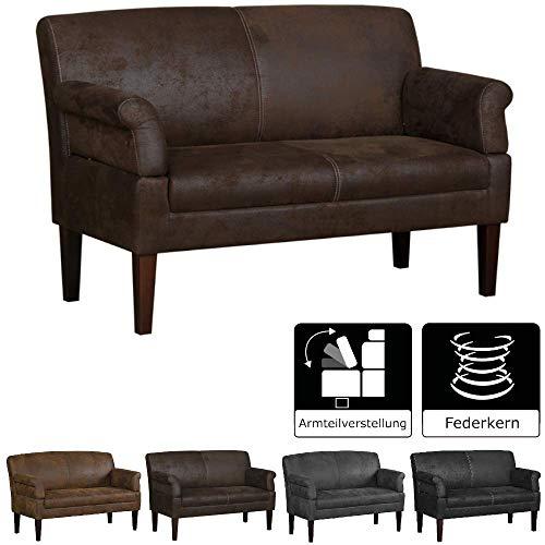 Cavadore 2-Sitzer Sofa Malm mit Federkern für Küche, Esszimmer oder Wohnküche / Küchensofa, Essbank im rustikalen Design mit Armteilfunktion /...