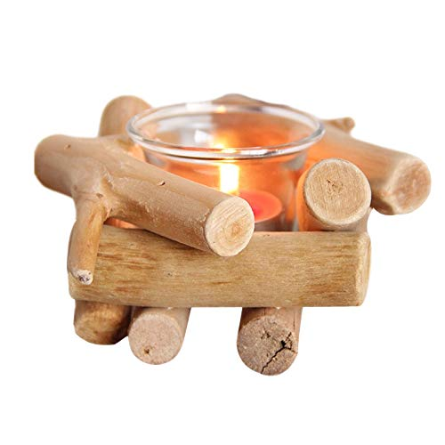 LQKYWNA Handmade Wooden Tea Light Candle Holder Floating Wood Bulk Stove Glass Cup Country Coastal Style Tabletop Illumination Tool for Bedroom And Study