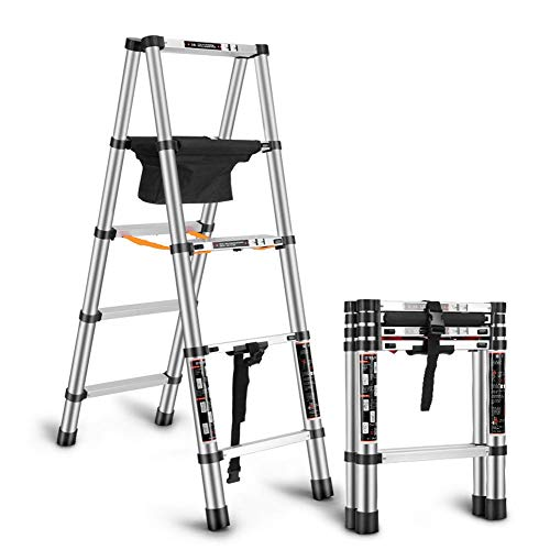 Telescopische Multi Purpose Ladder Draagbare Aluminium Engineering Drijvende Ladder Widen Pedaal Anti-lip Uitschuifbare A-Frame Stap Ladder Max 150kg 1.4+1.4M
