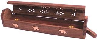 Stylla London® Magnifique boîte à encens en Bois Marron Fait à la Main avec Incrustation en Laiton Motif éléphant Jali
