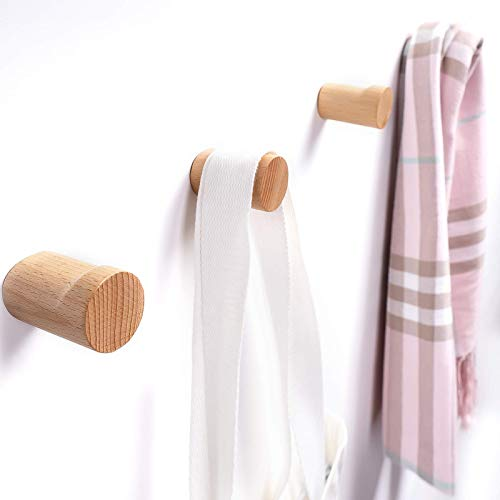 Lonpur Wooden Wall Hooks Minimalist Coat Hook,4pcs Modern Beech Real Natural Wood Pegs,Wood Hangers Wall Mounted for Planters Towel Hats Hanging(4 Pack)
