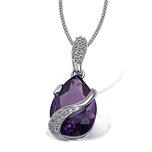 Goldmaid Damen-Halskette 925 Sterlingsilber Lila Tropfen 1 violetter und 24 weiße Zirkonia Kristalle Kettenanhänger Schmuck
