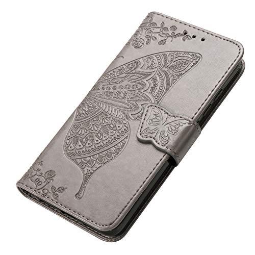 HAOYE Hülle für Xiaomi Redmi Note 8T Hülle, Schmetterling Geprägtem PU Leder Magnetische Filp Handyhülle mit Kartensteckplätzen/Standfunktion, Anti-Rutsch Schutzhülle. Grau