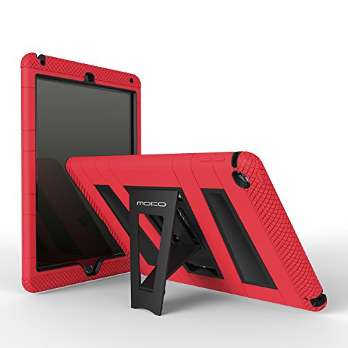 MoKo Case for iPad Air 2 - [Kickstand] Durable Hybrid Silicone + Hard Polycarbonate Kid Proof Extreme Duty [Shock-Absorption] with Foldable Stand Protective Cover for 9.7 Inch Tablet, RED