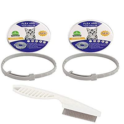 Andy 2 Pack Collar for Cats (with a Flea Comb), Safe, 8 Months Protection, Adjustable & Waterproof 15 inch
