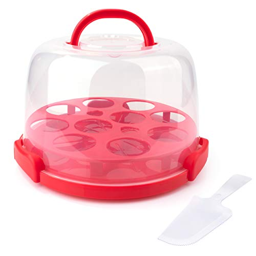 Kumica Cake Carrier with Handle. Double Side Tray with 3 Snap Locks. 10inch Base Container with Serving Spatula Included. (RED)