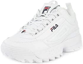 Fila Womens Disruptor II Premium White Navy Red Sneaker - 5