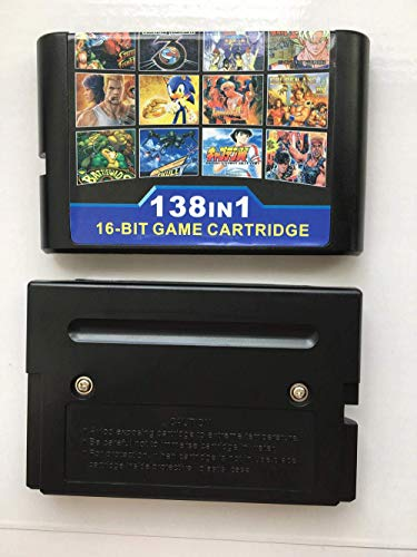 138 in 1 Game Cartridge Super Combo, 16 Bit Game Card for Retro Sega Mega Drive Genesis Console