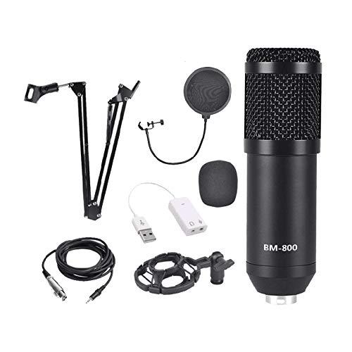 Monland Pacchetto Microfono A Condensatore, Set Microfono BM-800 per La Registrazione e La Trasmissione in Studio (Kit Microfono Nero)