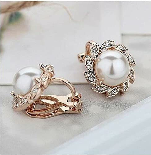 2Pairs Woman Gold Comfy Clip On Cream Ivory Pearl Flower Crystal Round Earrings