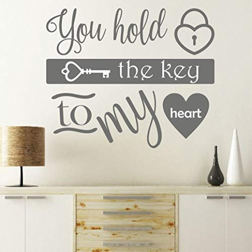 prz0vprz0v You Hold The Key to My Heart Romantic Wall Sticker Decal Quote Mural Transfer Bedroom Love Wedding Gift Wall Art Wall Decor with Sayings, vinilo, Como se muestra en la imagen., 20 x 20 Inches