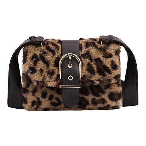 Rawdah_Bolso Mujer Bandolera Bolso desigual Bolso Hombro Pequeños Moda mujer leopardo de felpa Mini bolso cuadrado Hombro Messenger Bag Crossbody Bolsa