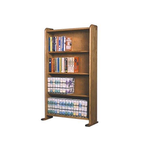 Cdracks Media Furniture Solid Oak Cabinet for DVD, VHS Tapes, Books Honey Finish 407 by CD Racks