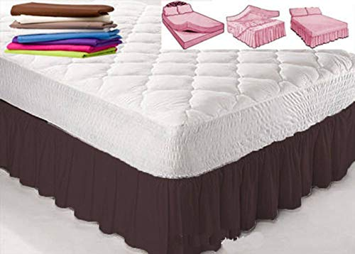 Pleated Bed Skirt, Classic 14' Drop Length 100% Polyester Solid Color Breathable Pilling Resistant Wrap Around Bed Skirt Suitable For Hotel Room-Brown-US-TO:198 * 203+35cm