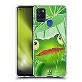 Head Hülle Designs Frosch Tiere Cartoon Soft Gel Handyhülle Hülle kompatibel mit Samsung Galaxy A21s (2020)