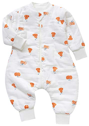 Chilsuessy Grenouillère Bébé Gigoteuse avec Jambes Fille Garçon Combinaison Tog 2.5 Hiver Coton Pyjama Unisexe,manches détachables, Citrouille 1, 110/Hauteur Bébé 95-105cm