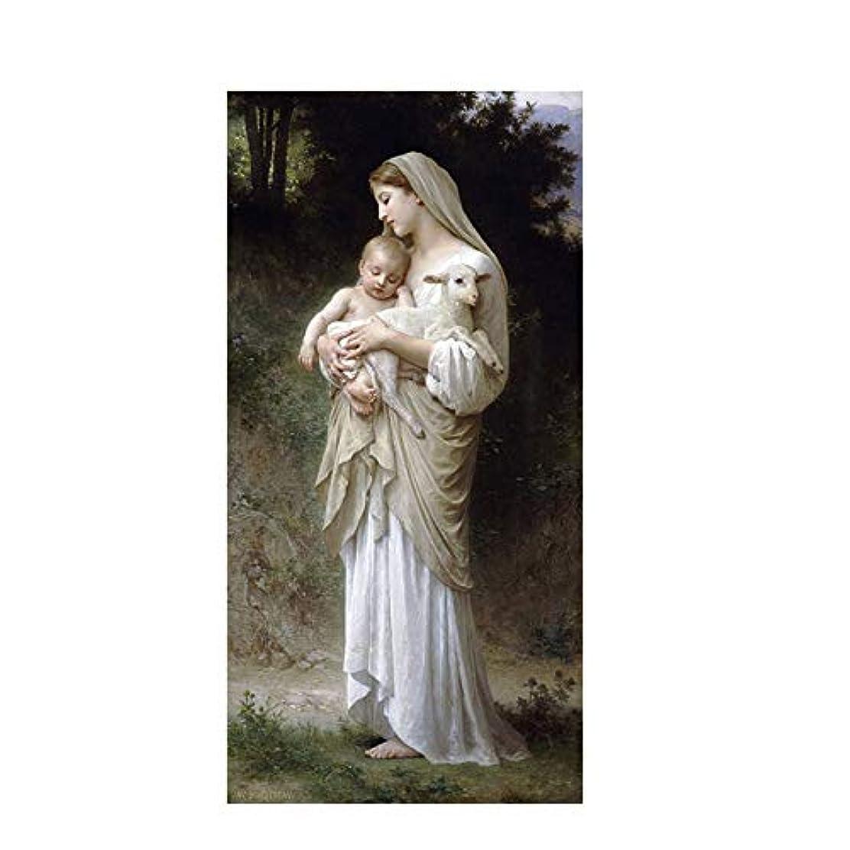 お客様大型トラック期待してモダン キャンバス塗装 抽象イエスと聖母マリアの赤ちゃんの肖像画油絵ポスターとプリント壁アート画像リビングルームの家の装飾 50*75cm