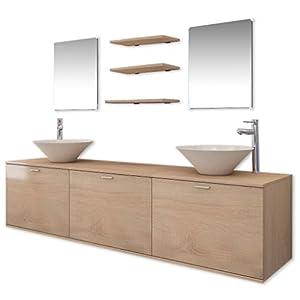 vidaXL Set muebles para baño con lavabo y grifo 9 uds Negro
