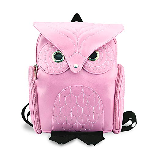 YUHUAWYH Damen PU Leder Rucksack Mädchen Freizeit Cartoon Eule Daypack Tasche (Pink)