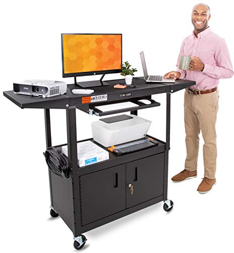 Line Leader Large AV Cart with Locking Cabinet & Drop Leaves | Height Adjustable Utility Cart | Includes Pullout Keyboard Tray & Cord Management | Easy Assembly (66in x 18in x 42in / Black)