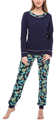 Merry Style Damen Schlafanzug MS10-236 (Marineblau/Blätter, M)