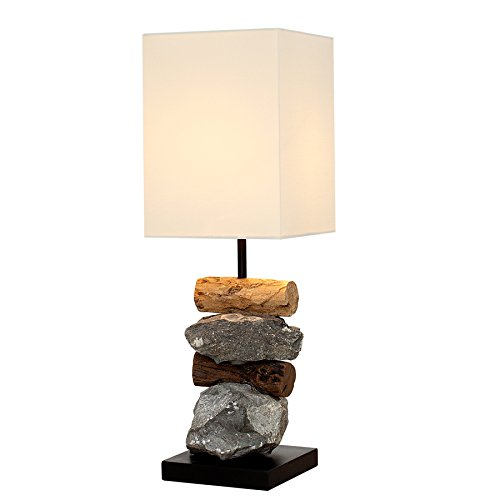 Design Tischleuchte ELEMENTS aus Treibholz und Gestein E14 mit weißem Schirm Handarbeit Wohnzimmerlampe Holzlampe Tischlampe